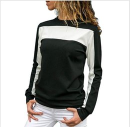 Wholesale long collar top fashion style for sale - Group buy Designer Sport Style Womens Sweatshirts Color Patchwork Long Sleeve Cloth Fashion Female Round Collar Casual Tops