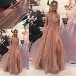 $enCountryForm.capitalKeyWord Australia - New Sexy High Slit Prom Dresses Long 2019 Vintage Blush Pink Beaded V-neck Tulle Party Gowns Women Evening Dresses