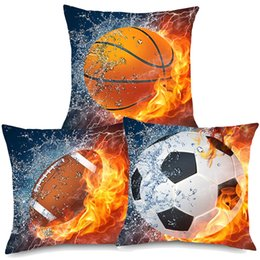 football decor Canada - Sport Rugby Football Basketball On Fire Art Cushion Covers Modern Ball Fans Home Decorative Linen Pillow Case 45X45cm Sofa Chair Decor