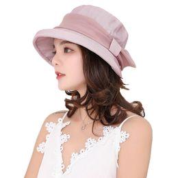f9ced582bad Korean Style Bow Bucket Hat New Women Summer Sun Protection Caps Cap  Fishing Hat Visor Outdoor Beach Fisherman Hats Ladies Muts
