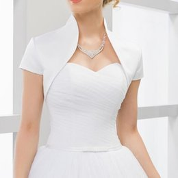 EvEning wEdding drEss bolEro online shopping - Custom made Short Sleeves wedding jacket New Arrival satin bolero jackets for evening dresses Bridal