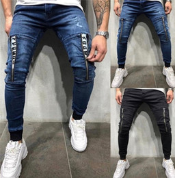 Wholesale men skinny jeans zippers ankle for sale – denim Mens Zipper Design Jeans Fashion Ripped Wahsed Skinny Ankle Banded Pencil Pants Street Style Mens Jean Trousers
