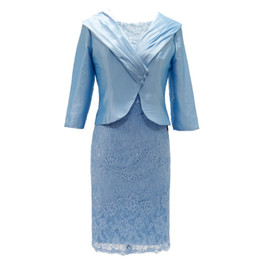 China Mother's Dresses Mother Of The Bride Dresses With Jacket Wedding Party Guest Plus Size Lace Knee Length Flowing Sheath suppliers