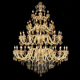 bedroom chandeliers candles Australia - Double Staircase Crystal Lamp Villa Living Room Hall Long Crystal Chandelier Lighting Hotel Lobby Engineering Candle Crystal Pendant Lights