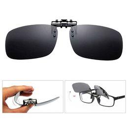 120393e64e New Clip On Eye Glasses Night Vision Polarized Lens Driving Sunglasses Flip  Up Anti UV Glare Sunglasses for Myopic Lens - Yellow