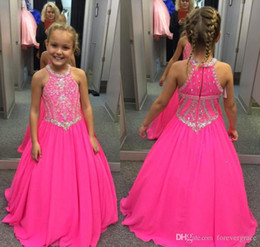 Cute Little Cupcakes Australia - Cute Fuchsia Girl's Pageant Dress Princess Beaded Crystals Cupcake Young Pretty Little Queen Flower Girl Dress Children Formal Party Gowns