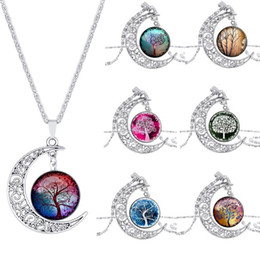 Outer Space Pendant Australia - hot Vintage moon necklace starry Moon Outer space Universe Time Gemstone necklaces pendants Tree of life necklace
