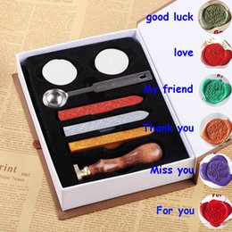 wax seal stamps wedding UK - 6 Greeting Pattern Retro Sealing Wax Set DIY Paper Envelope Decoration Delicate Cuprum Stamps Wood Handle for Wedding Invitation