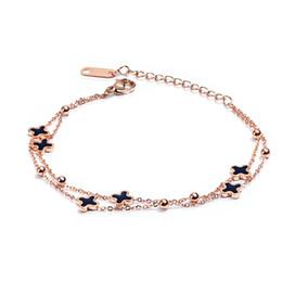 Clover Chain Wholesale Australia - titanium stainless steel bracelets bangles for women chain link charm rose gold clover bracelet charms female femme braclet