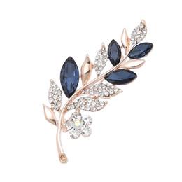 rhinestone leaf brooch Australia - Leaf Shape Designer Brooches Crystal Rhinestone Brooches Pins Clothing Suits Accessories Brooches High Grade Jewelry Wholesale