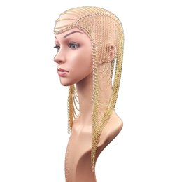 chain headdress wholesale NZ - Europe and America Exaggerated Tassel Head Chain Female Party Wedding Show Decoration Hair Accessories Headdress