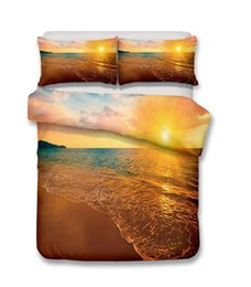 Beautiful Modern Bedding Australia - Beautiful Beach Scenery Series Beach At Sunset 3D Bedding Set Print Duvet Cover Set Lifelike Bed Sheet