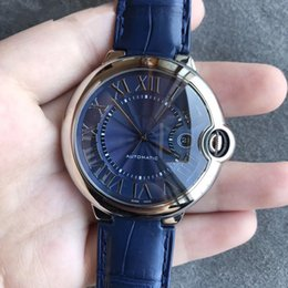 $enCountryForm.capitalKeyWord Australia - Luxury Fashion WSBB0025 blue automatic mechanical men's stainless steel case leather strap watch 42 mm with box