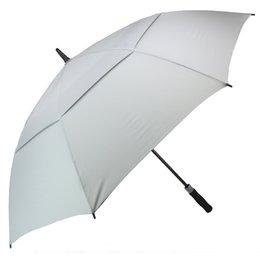 مظلة الغولف للرجال التلقائي المظلات المفتوحة للريح Windproof اضافية كبيرة الحجم مزدوجة المظلة تنفيس عصا ماء 62 بوصة لون رمادي