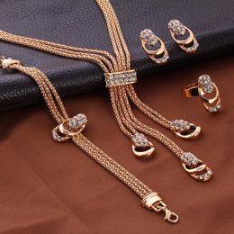 Pendants Sets Australia - Crystal Tassels Pendants Necklaces Earrings Ring Bracelet Sets 4PCS Bride Wedding Jewelry Sets Accessories for Women Gifts NO BOX