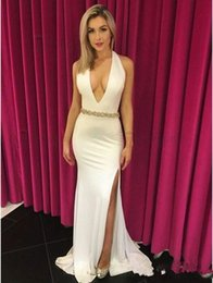 $enCountryForm.capitalKeyWord NZ - 2019 Halter Sexy Deep V Neck Prom Dresses with Beaded Sash Long Side Split Mermaid Evening Gowns
