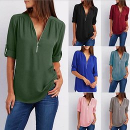 $enCountryForm.capitalKeyWord Australia - Solid Zipper Shirt Loose Plus Size 5xl Long Sleeve Chiffon Blusas Tops New Women Sexy V Neck Casual Summer Blouse