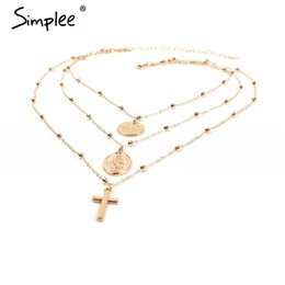 Multilayer Chains NZ - Simplee Statement multilayer golden chain necklace women Fashion jewelry long necklace streetwear Party charm women accessories