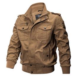 Wholesale jacket military resale online – Men Spring Autumn Cotton Pilot Jacket Coat Plus Size Military Jacket Army Men s Bomber Jackets Cargo Flight Jacket Male XL