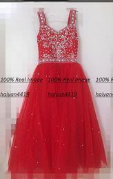 Green formal dresses for juniors online shopping - 2020 Red Tulle Girls Pageant Dresses For Weddings Spaghetti Straps Crystal Beads junior Girls Long Formal Dress Kids Prom Communion Gowns