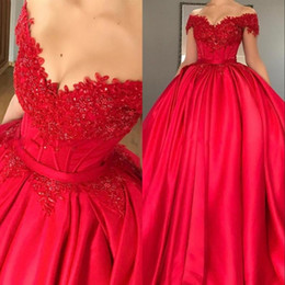 Sweet 16 quinceanera dreSSeS online shopping - Off Shoulder Red Ball Gown Quinceanera Dresses Appliques Beaded Satin Corset Lace Up Prom Dresses Sweet Girls Dresses