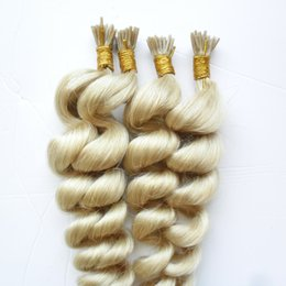 "wholesale fusion human hair extensions Australia - 400s Virgin Pre Bonded Stick I TIP Human Hair Extensions Virgin Malaysian Loose Wave Stick I TIP Remy Hair Extensions Keratin fusion 18"" 20"""