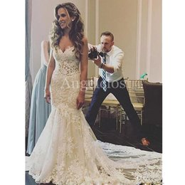 $enCountryForm.capitalKeyWord Australia - Luxury Lace Mermaid Wedding Dresses 2019 V Neck Backless Sweep Train Appliques Beaded Modest Charming Garden Bridal Jumpsuits Customized