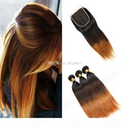 auburn closure UK - 8A Brazilian Ombre Straight Hair Bundles with Lace Closure Three Tone 1B 4 30 Auburn Ombre Human Hair Weaves with Top Closure