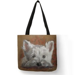 $enCountryForm.capitalKeyWord Australia - Unique Design Westie Dog Painting Handbag for Women Shopping Travel Bags Large Capacity Eco Linen Tote Bag