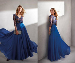 $enCountryForm.capitalKeyWord Australia - Chic Royal Blue Chiffon Formal Evening Dresses 2019 Sexy Deep V Neck Sheer Long Sleeves Lace Mother Of Bride Prom Party Gowns