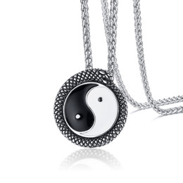 bagua necklace UK - Snake Shaped Around Ying Yang Pendants Necklace in Stainless Steel Enamel Bagua Necklace