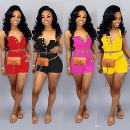 $enCountryForm.capitalKeyWord NZ - Sexy Women 2 Two Piece Set Summer Denim Shorts Set Sleeveless Jeans Crop Top + Hot Shorts Suit Yellow Denim Matching Set Outfit