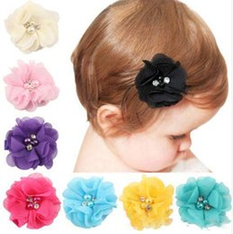 Flower Girl Rhinestone Hair Clips Australia - 18 colors Pearl rhinestone flower hairclip Europe and America flower clip baby girls kids hair accessories