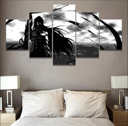 anime picture Australia - 5 Pieces Black and White Anime Bleach Ichigo Kurosaki Canvas Paintings Wall Art Poster Pictures for Boy's Room(No Frame)