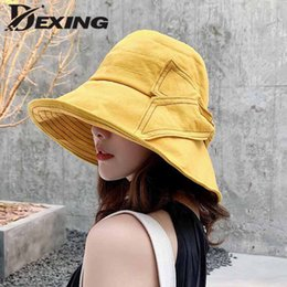 Korean Hats For Women Australia - 2019 Anti-UV Wide Brim Chic Cotton Linen Summer Hat for Women Vacation Foldable Beach Hat Big Bow Korean Uv Protection Sun