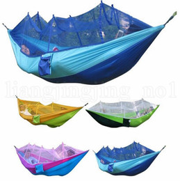 $enCountryForm.capitalKeyWord NZ - Mosquito Net Hammock 12 Colors 260*140cm Outdoor Parachute Cloth Field Camping Tent Garden Camping Swing Hanging Bed Tents OOA2117
