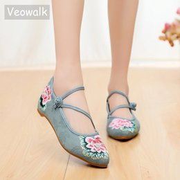 Veowalk Chinese Style Women Cotton Fabric Ballet Flats Pointed Toe Instep  Strap Ladies Casual Ballerinas Embroidered Shoes 20c486e36091