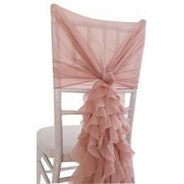 chair hoods sashes Canada - SMOPOR Blush Pink Chiffon Chair Cover Hoods with Ruffle Sashes For Wedding Events party Ceremony Decoration