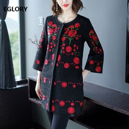 floral trench coat women Australia - XXXXL Coat Trench 2019 Autumn Winter Outerwear & Coats Women Allover Luxurious Embroidery Wide-waisted Vintage Coat Oversize