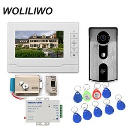 Wholesale WOLILIWO Wired Video Door Phone Intercom System Monitor TVL RFID Access Waterpoof Camera Electric Control Door Lock