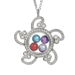 $enCountryForm.capitalKeyWord Australia - Rhinestone Flower Magnetic Glass Open Pearl Cage Locket Floating Living Memory Charms Necklace With Stainless Steel Chain for Jewelry Making