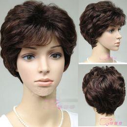 $enCountryForm.capitalKeyWord Australia - dark Brown Mother's Gift Wig Short Curly Wavy Hair Daily Wear Old Women Lady Girls Cosplay Peluca Products WIGS