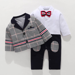 Toddler Boys Gifts Australia - baby boy clothes Infant Outfits Newborn Best Suits toddler boys clothes Boys Clothing Sets Boys Suits coat+ baby romper Baby Gift A3283