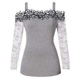 3e618cd35251e3 PLUS SIZE New Fashion Womens Long Sleeve Plus Size Lace Applique Cold  Shoulder Shirt Tops XL-5XL blusas femininas de verao 2019