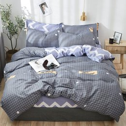Discount dark grey bedding - Pastoral style bedding set winter grey blue bed linens 3 or 4pcs set duvet cover set panda bed kids bedclothes queen bed