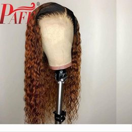 tone hair color lace fronts Australia - PAFF Deep Curly 13X4 Lace Front Human Hair Wigs Ombre Color Deep Part Two Tone 1B 30 Wig Brazilian Pre Plucked Remy