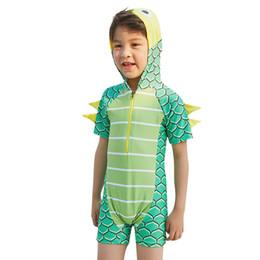 Chinese  New Stylish Boys Swimwear Child Baby Boys Dinosaur Hooded Bathing Suit Short Sleeve Pool Beach Swimwear suit 5.28 manufacturers