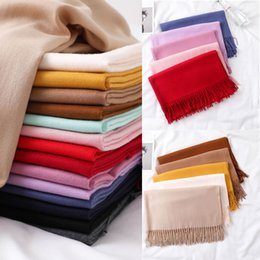 cashmere fashion solid pashmina scarf Australia - 15 colors Professional Etiquette Solid Color Tassel Scarf Shawl High Quality Pashmina Scarves Womens Imitated Cashmere Scarves Mats 200*75cm