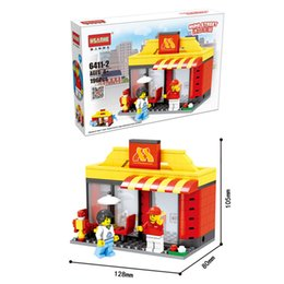 $enCountryForm.capitalKeyWord NZ - Educational City Mini Street View Scene Architecture Model Apple Store Shop Miniature Starbucks KFC McDonald Building Block Toy for Children