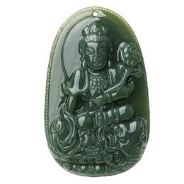 $enCountryForm.capitalKeyWord UK - Fine Jewelry Pure Natural GreenJade Hand Carving Riding An Elephant Samantabhadra Bodhisattva Necklace Pendant